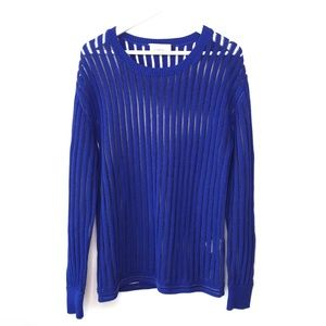 3.1 Phillip Lim blue knit ribbed boyfriend sweater